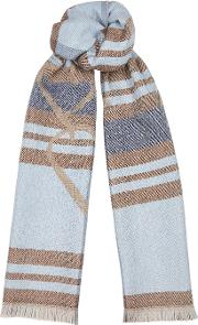 Checked Jacquard Wool Blend Scarf