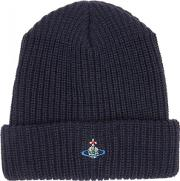 Navy Chunky Knit Wool Beanie