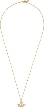 Thin Lines Orb Pendant Gold Tone Necklace