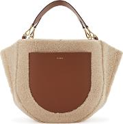 Mia Cream Shearling And Leather Tote