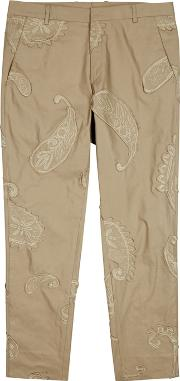 Sand Embroidered Stretch Cotton Chinos