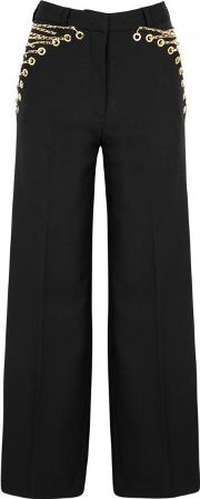 Black Chain Embellished Wool Trousers