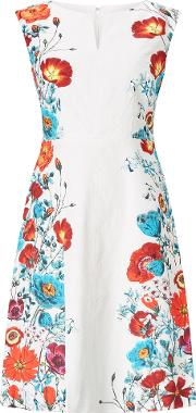 Adrianna Papell Floral Trimmed Fit And Flare Dress, Multi Coloured