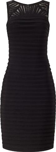 Adrianna Papell Sleeveless Bandeau Pleat Cocktail Dress, Black