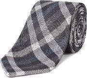 Jones Slim Grey Check Tie, Grey