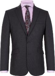 Men's  Striped Notch Collar Tailored Fit Suit Jacket, Navy