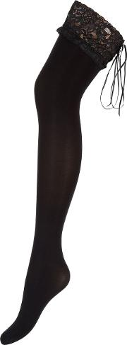 Lace Welt Opaque Hold Up, Black