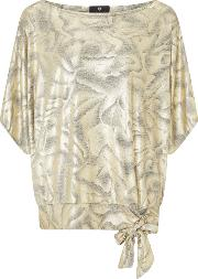 Lux Jersey Batwing Top, Gold Silverlic