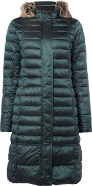Barbour Fortrose Long Quilted Coat, Emerald