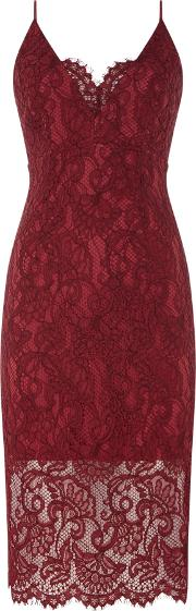 Pencil Lace Dress, Red