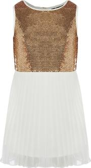 Sequin Bodice Pleated Dress, Gold