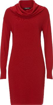 Fine Ribbed Knitted Dress, Chilli