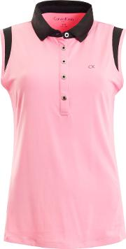 Knitted Trim Sleeveless Polo, Pink