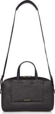 Leather Contemporary Duffle Bag, Black