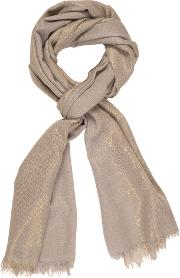 All Over Metallic Printed Scarf, Grey