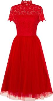 Lace High Neck Midi Dress, Red