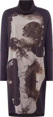 Crea Concept Abstract Print Roll Neck Dress, Grey