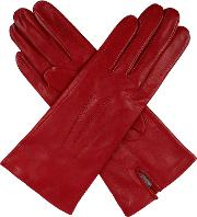Dents Ladies Silk Lined Leather Gloves, Berry