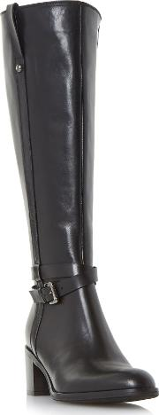 Timmie Knee High Buckle Detail Boot, Black