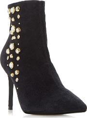 Othello Pearl Studded Side Zip Heeled Ankle Boots