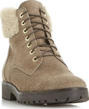 Perrinn Cleat Sole Fur Lace Up Ankle Boots