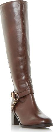 Vicky Stretch Back Kneehigh Boots, Black & Brown