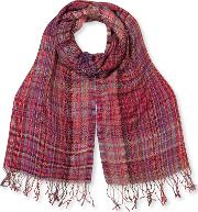East Assia Check Scarf, Red