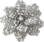 Flower Faceted Bead Brooch, Silver