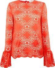 Long Sleeved Detailed Knitted Top, Red