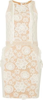 Sleeveless Lace Embroidered Detail Shift Dress, Off White