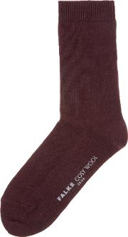 Cosy Wool Ankle Socks, Red