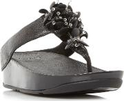 Boogaloo Embellished Toepost Sandals, Black