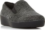 Superskate Slip On Skate Trainers, Jet Black