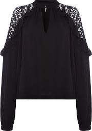 Little Bit Of Love Top With Crochet Detail, Black