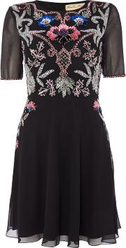 Frock And Frill Long Sleeved Embellished Fit And Flare Dress, Black