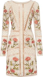Frock And Frill Long Sleeved Embroidered Shift Dress, Rose