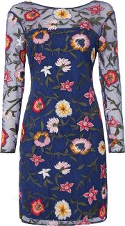 Long Sleeved Embroidered Shift Dress, Blue