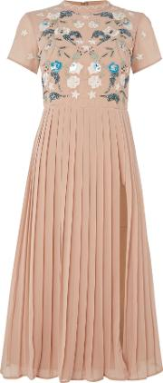 Short Sleeved High Neck Midi Dress, Blush