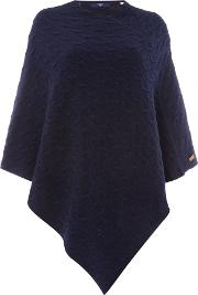 Cable Knit Poncho, Blue