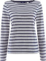Knit Printed Checked Dot Crew Neck Jumper, Grey