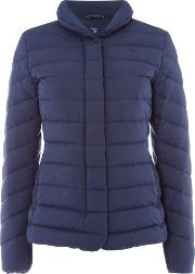 Lightweight Down Short Jacket With Stand Collar, Blue