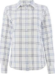 Long Sleeved Check Shirt, Off White