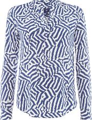 Woven Cameo Striped Blouse, Blue