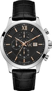 Gents Leather Strap Watch, Silver
