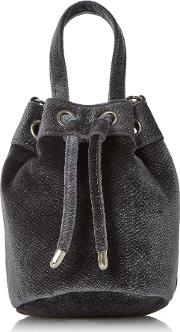 Head Over Heels Borough Small Velvet Bucket Bag, Grey
