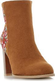 Paradisea Embroidery Heeled Ankle Boots, Tan