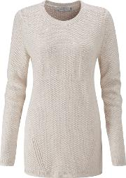 Eve Graphic Crew Neck Knit, Grey Marl