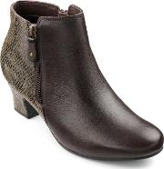 Delight Ladies Smart Heeled Ankle Boot, Chocolate