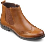 Hotter County Ladies Tailoured Ankle Boots, Tan