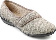 Hotter Thyme Ladies Touch Close Slippers, Truffle